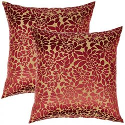 Redearth Designer Square Jacquard Throw Pillow Covers Set Cushion Cases Pillowcases 40% Silk, 60 ...