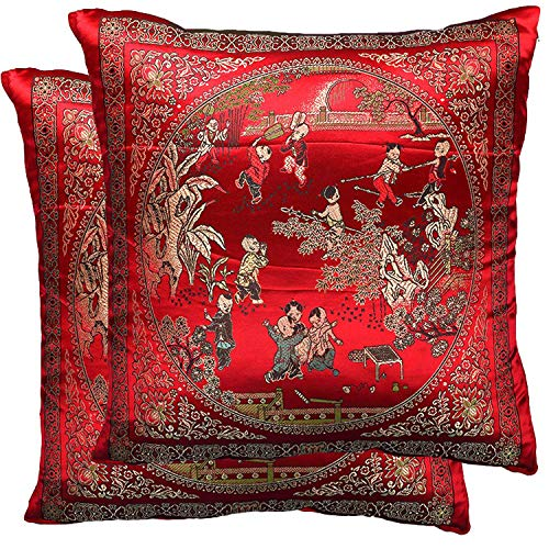 Yootop Pair Courtyard Scene Embroidered Pillowcase Silky Decorative Chinese Oriental Cushion Cov ...