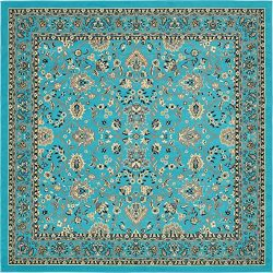 Unique Loom Kashan Collection Traditional Floral Overall Pattern with Border Turquoise Square Ru ...