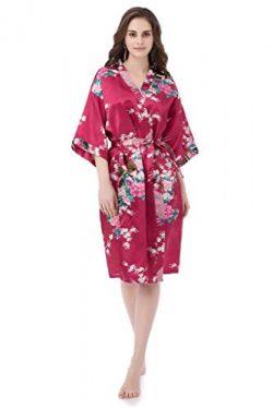 gusuqing Women's Printing Peacock Kimono Robe Short Sleeve Silk Bridal Robe Burgundy L
