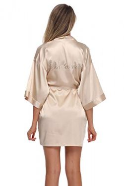 The Bund Women's Short Satin Bride and Bridesmaid Kimono Robes for Wedding Party