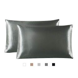 Hboemde 2-Pack Satin Pillowcases Set for Hair and Skin,Dark Gray Pillow case Set of 2 Envelope C ...