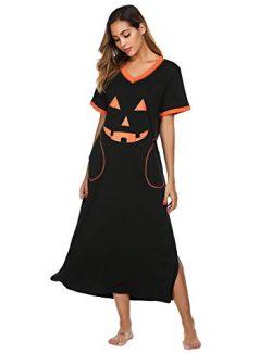 Ekouaer Women's Sleepshirt Short Sleeve Night Dress (Halloween Style, Medium)