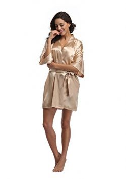 Luvrobes Women's Satin Kimono Robe, Solid Color, Short(Champagne Gold, S)