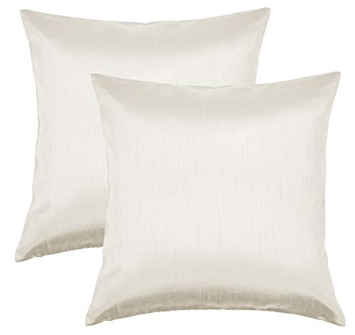 Aiking Home 18×18 Inches Faux Silk Square Throw Pillow Cover, Zipper Closure, Ivory (Set of 2)