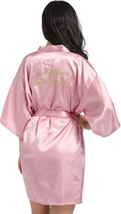 DF-deals Women's Satin Kimono Robe for Bridesmaid and Bride Wedding Party Getting Ready Sh ...