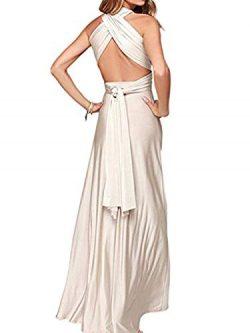 Clothink Women Cream Convertible Wrap Plus Size Maxi Dresses Cream Medium