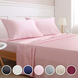 Vonty Satin Sheets Full Pink Silky Satin Sheet Set, Deep Pocket Fitted Sheet + Flat Sheet + Pill ...