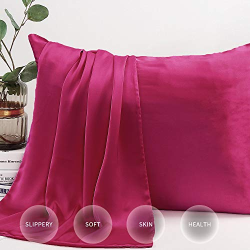 INSSL Silk Pillowcase for Hair and Skin,Hypoallergenic Soft Silk Pillow Cover, 19 Momme 600 Thr ...