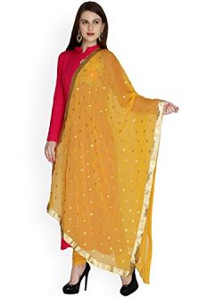 TMS Woman's Embroidered Chiffon Dupatta Scarf Shawl Wrap Soft Indian Bridal Wedding (Musta ...