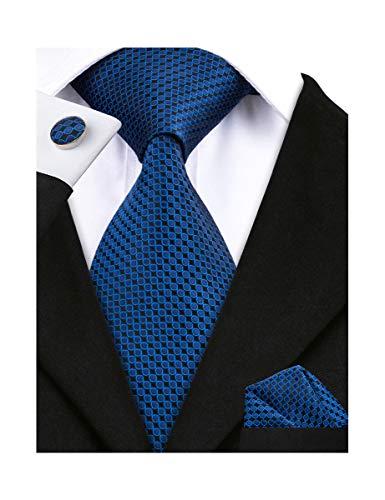 Barry.Wang Men Tie Set Solid Silk Necktie Pocket Square Cufflinks Extra Long Tie (Blue)