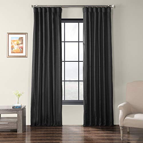 HPD Half Price Drapes SSCS-180744-108 Faux Dupioni Shantung Silk Curtain, 50 X 108, Papillon Black