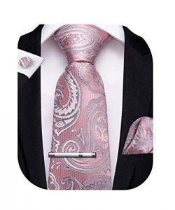 DiBanGu Blush Pink Tie for Men Silk Paisley Necktie Handkerchief Cufflinks Tie Clip Set