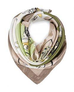 YOUR SMILE Silk Feeling Scarf Women's Fashion Pattern Beige Chain Large Square Satin Heads ...