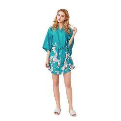 Tlanpu Women's Kimono Robes Satin Robe Kimono Imitation Silk Pajama Short Sleeve V-Neck Ni ...