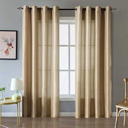 Valea Home Faux Silk Satin Window Curtains for Living Room 84 inch Long Light Reducing Curtain P ...