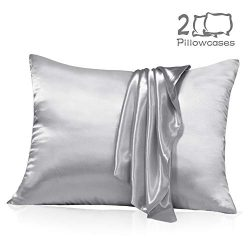 Muama Satin Silk Pillowcase 2 Pack for Hair and Skin with Hidden Zipper Luxury Silky Pillow Case ...