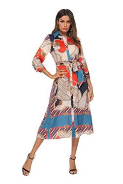 SHENGYI Women's Summer Boho Floral Lapel Button Down Casual Work Midi Dress with Belt S-2X ...