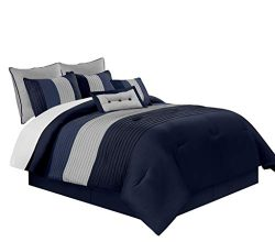 Chezmoi Collection Loft 8-Piece Luxury Striped Comforter Set (Queen, Navy/Blue/Gray)