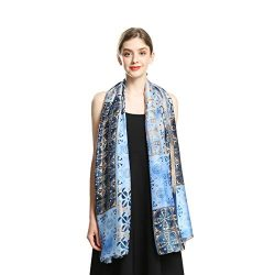 100% Silk Scarfs for Women Long Large Sunscreen Satin Shawls Fashion Lightweight Floral Pattern  ...