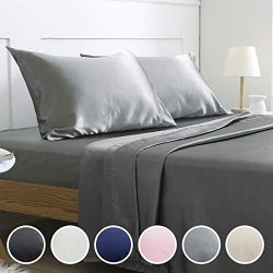Vonty Satin Sheets Silky Satin Sheet Set, Deep Pocket Fitted Sheet + Flat Sheet + Pillowcase Bed ...