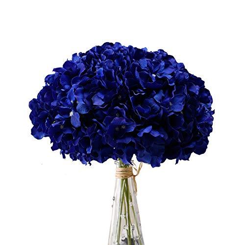 Aviviho Royal Blue Hydrangea Silk Flowers Heads with Stems Pack of 10 Full Hydrangea Flowers Art ...