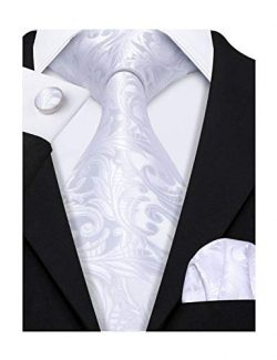 Barry.Wang Solid White Ties Flower Silk Wedding Groom Handkerchief Cufflink