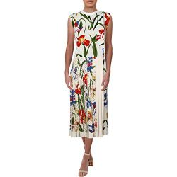 Tory Burch Womens Carine Crepe Floral Print Cocktail Dress