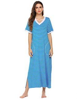 Ekouaer Womens Sleepshirts Long Stripe Night Gown Loungewear (Blue White Stripe, XX-Large)
