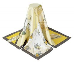 corciova 35″ 14 Timmy Twill 100% Real Mulberry Silk Square Women Scarfs Scarves Light Gold ...