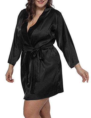 Allegrace Women Plus Size Satin Wrap Front Kimono Robes Short Pajamas with Belt Black 3X