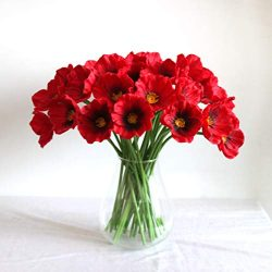 Mandy's 30pcs Red Poppies Silk Artificial Flowers for Wedding Home & Kitchen PU 12.5&# ...