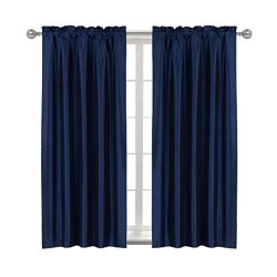 Home Queen Rod Pocket Blackout Curtain Drapes for Livingroom, Thermal Insulated Light Blocking C ...