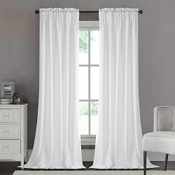 Dreaming Casa Silk Privacy White Semi Sheer Curtains, Rod Pocket Window Treatment 52″ W x  ...