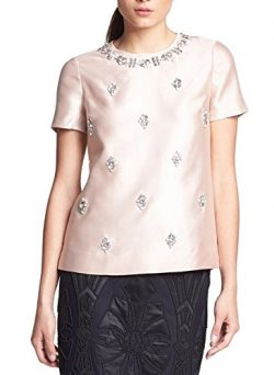 Tory Burch VESPER Bead-Embellished Woven Silk Top Blouse 0 Blush Champagne