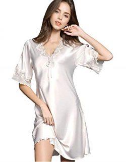 Uforme Women Sleepwear Sexy Lingerie V-Neck Nightgown Short Skirt Silk Lace Pajama Dress (L, Beige)