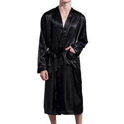 Lu's Chic Men' Satin Kimono Robe Silk Classic Long Bathrobe Pockets Lighweight Loung ...