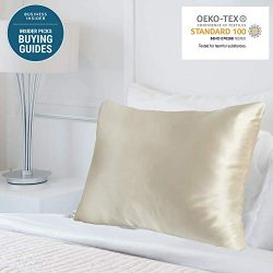 MYK Pure Natural Mulberry Silk Pillowcase, 25 Momme with Cotton Underside for Hair & Skin, O ...
