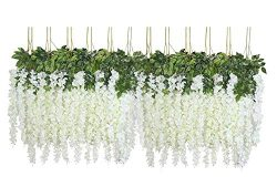 U'Artlines 24 Pack 3.6 Feet/Piece Artificial Fake Wisteria Vine Ratta Hanging Garland Silk ...