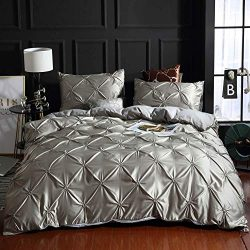 Papa&Mima Silver Solid Fashion Silk Feeling Satin Microfiber Duvet Cover Set Pillowcases Bed ...