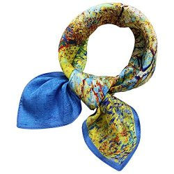 "100% Pure Mulberry Silk Small Square Scarf -21"" x 21""- Breathable Lightweight Necker ..."