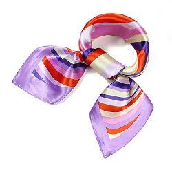 QBSM Womens 23.6 inch Satin Silk Feeling Formal Square Neck Scarf Head Hair Wraps (011-01)