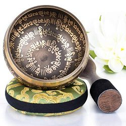 Silent Mind ~ Tibetan Singing Bowl Set ~ Peace Mantra Design ~ With Dual Surface Mallet and Silk ...
