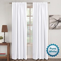 Window Treatment Curtains Insulated Thermal White Curtains Blackout Back tab/Rod- Pocket Room Da ...