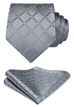 HISDERN Plaid Woven Tie Classic Men's Necktie & Pocket Square Set Gray