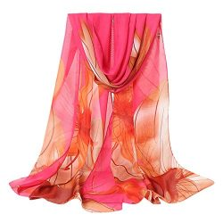 Fashion Women Flower Print Long Soft Wrap Scarf Simulation Silk Shawl Scarves