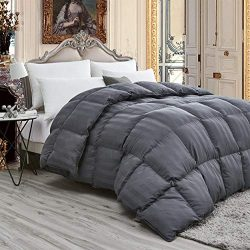 Luxurious Light Weight Goose Down Comforter King/California King Size Duvet, Exquisite Gray Stri ...