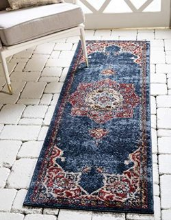 Unique Loom Utopia Collection Traditional Medallion Vintage Warm Tones Dark Blue Runner Rug (2&# ...