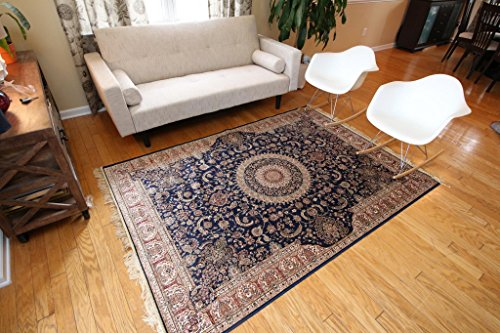 Silk silk342navy_8x11 Traditional Isphan Ultra Low Pile Area Rug, 8′ x 10′, Navy