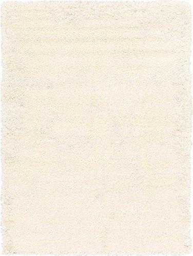 Unique Loom Solo Solid Shag Collection Modern Plush Snow White Area Rug (8′ 0 x 11′ 0)